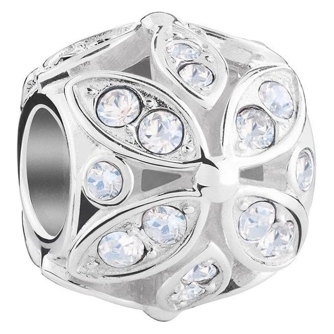 Chamilia Silver bead - Floral colour accent - Crystal Moonlight