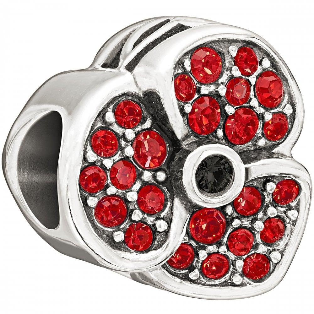 47919c467 Chamilia Chamilia Silver bead - Jewelled Poppy - Red Swarovski ...