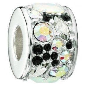 Silver bead - Mosaic - Black and white Swarovski