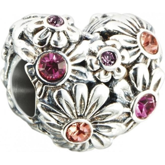 Chamilia Silver bead - Multi colour Zinnia heart