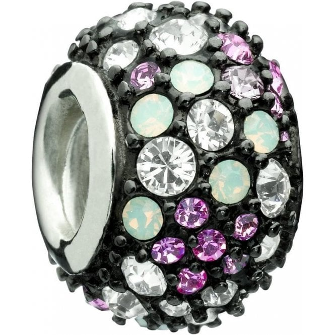 Chamilia Silver Bead - pink and black jewelled kaleidoscope