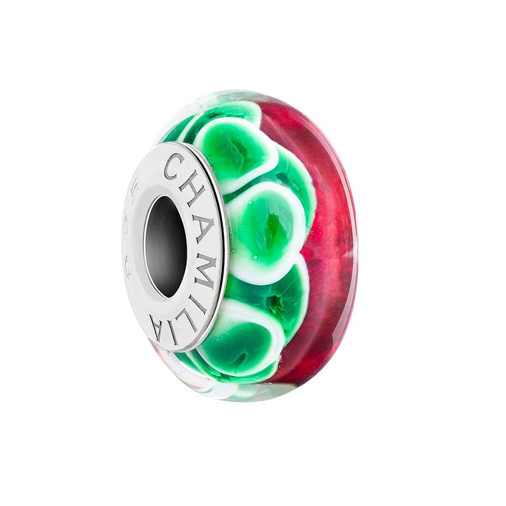 18f5fccd1 Chamilia Silver bead - red, white and green murano - Jolly Holly