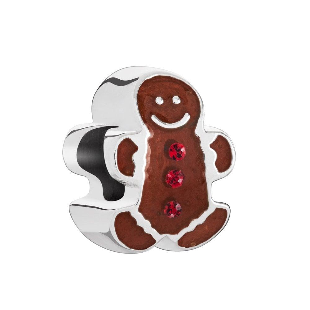 Chamilia Silver Bead Swarovski And Enamel Christmas Gingerbread Man