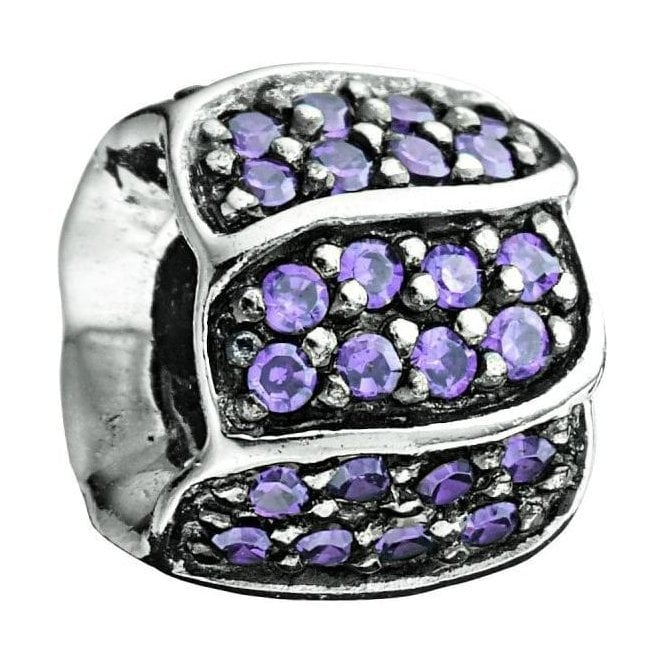 Chamilia Silver bead with Purple CZ - Jewelled Petals