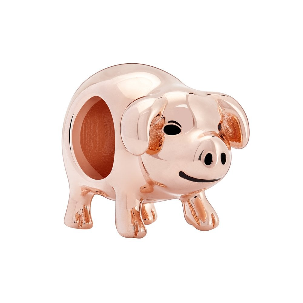 Chamilia Silver bead with rose gold plating - Piggy bank