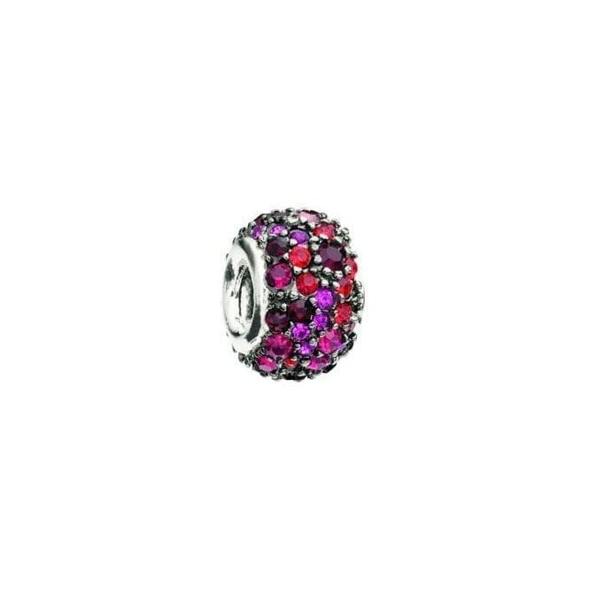 Chamilia Silver bead with Swarovski - red and black jewelled kaleidoscope