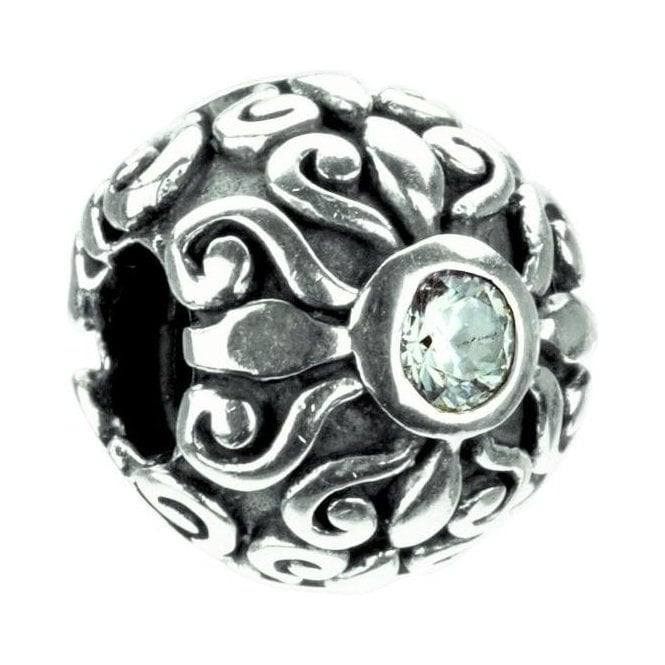 Chamilia Silver Charm - Floral with Clear Stone