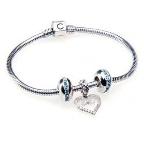 Silver classic snap bracelet with Aqua wink charm & heart