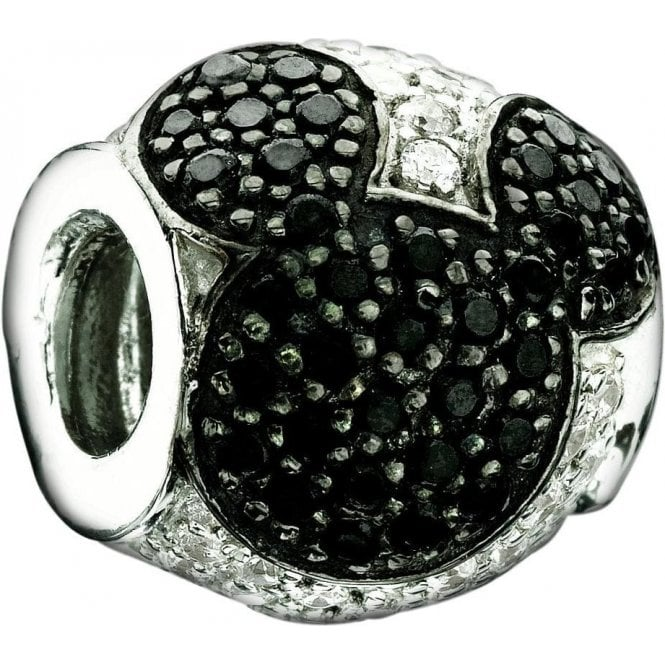 Chamilia Silver Disney Charm - Jewelled Mickey Black and Clear