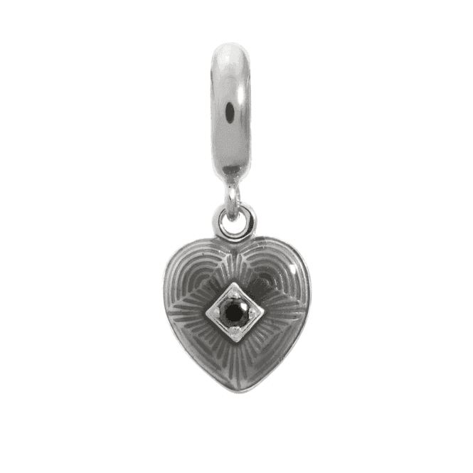Endless Jewelry Silver Hanging Charm - Black Big Heart