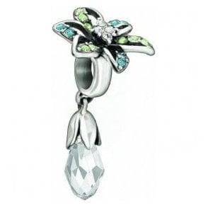 Silver hanging charm - Lily - blue briolette