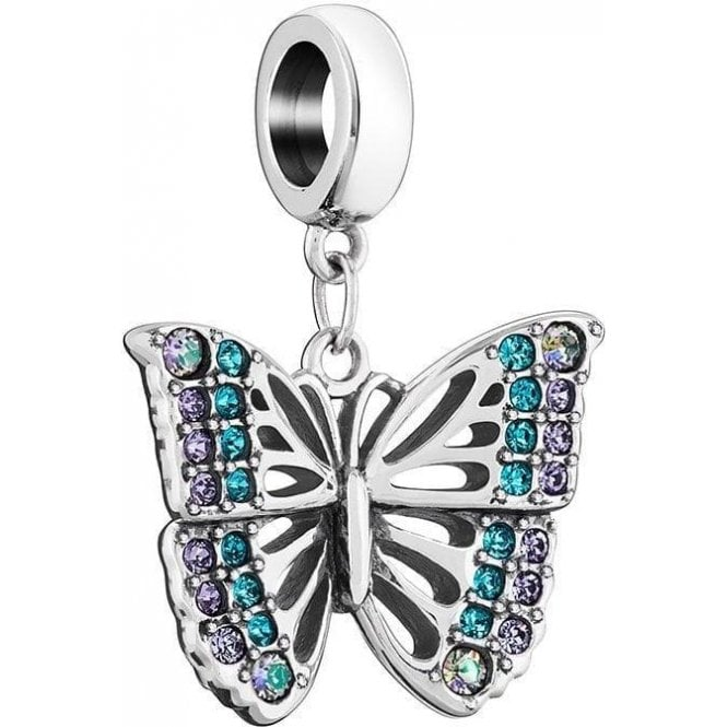 Chamilia Silver hanging charm - Rainforest butterfly- multi col Swarovski