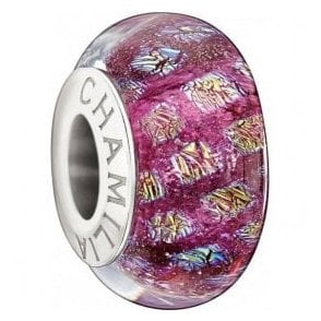 Silver murano bead - Opulence collection - Magenta
