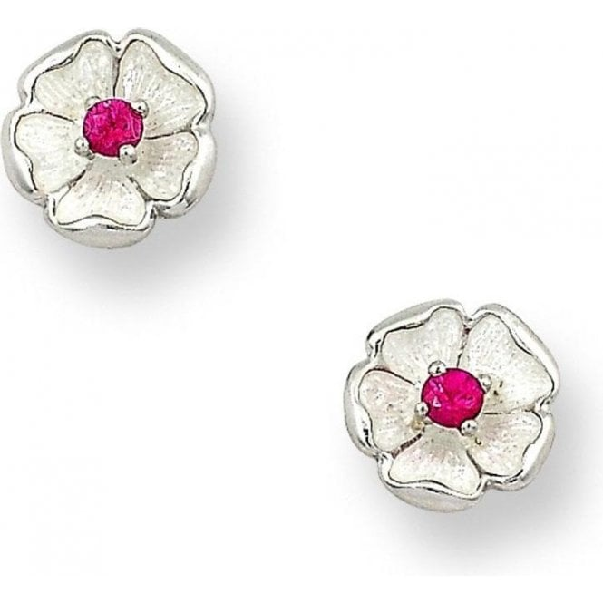 Nicole Barr Silver white enamel and ruby floral stud earrings