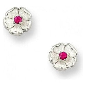 Silver white enamel and ruby floral stud earrings