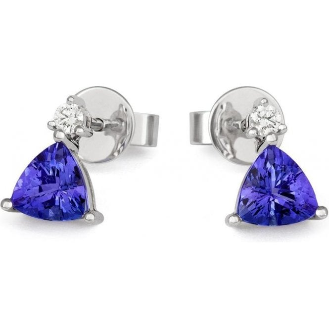 18ct White Gold Tanzanite And Diamond Drop Earrings