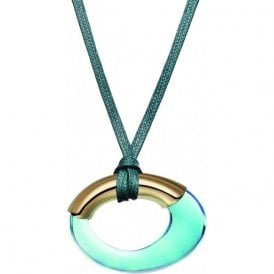 turquoise coloured crystal pendant on a cord