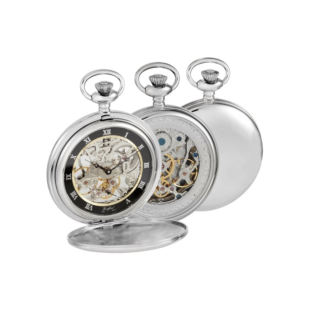 b2d55ff05 Woodford Woodford Chrome-Plated Double Hunter Skeleton Pocket Watch ...