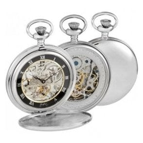 Woodford Chrome-Plated Double Hunter Skeleton Pocket Watch