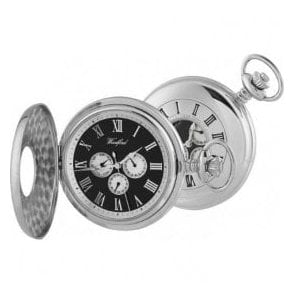Woodford Chrome-Plated Half Hunter Day-Date Quartz Pocket Watch