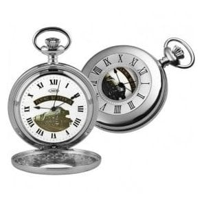 Woodford Chrome-Plated Half Hunter Flying Scotsman Pocket Watch