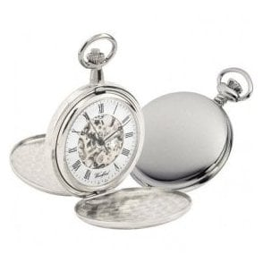 Woodford Double Hunter Chrome-Plated Skeleton Pocket Watch
