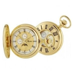 Woodford Gold-Plated Half Hunter Day-Date Quartz Pocket Watch