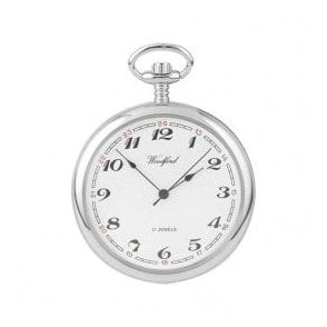 Woodford Open-Faced Chrome-Plated Arabic Dial Pocket Watch