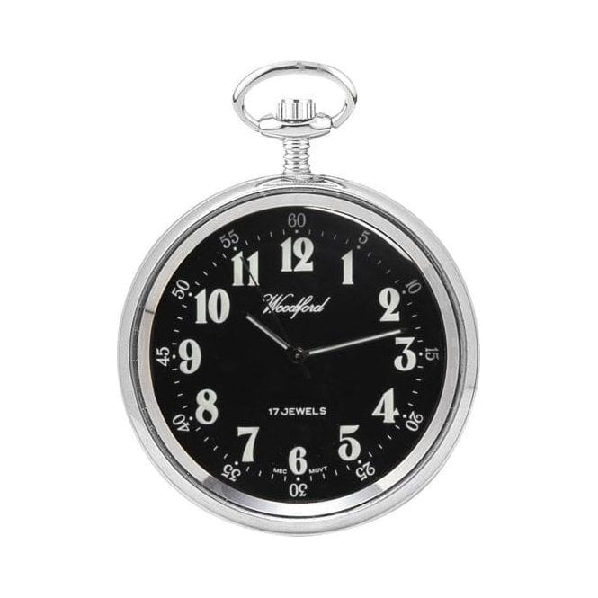 Woodford Open-Faced Chrome-Plated Manual Wind Pocket Watch