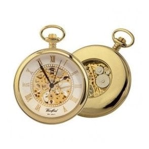 Woodford Open-Faced Gold Plated Skeleton Mechanical Pocket Watch