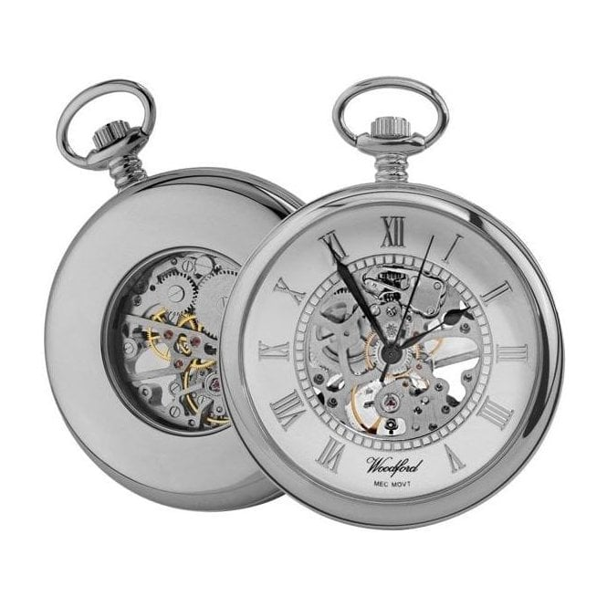 Woodford Open-Faced Skeleton Chrome-Plated Pocket Watch
