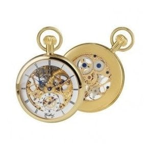 Woodford Open-Faced Skeleton Dial Gold-Plated Pocket Watch
