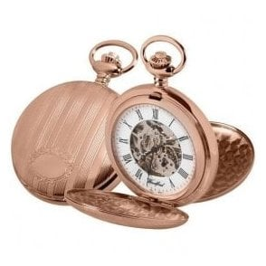 Woodford Rose Gold-Plated Double Hunter Skeleton Pocket Watch