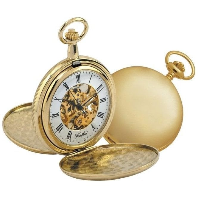 Woodford Skeleton Gold-Plated Double Hunter Pocket Watch